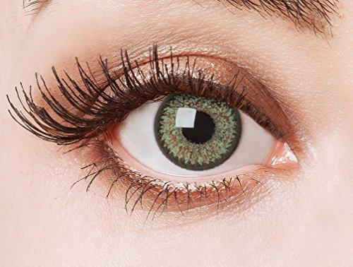 aricona Kontaktlinsen - Grüne Kontaktlinsen ohne Stärke - Farbige Kontaktlinsen Motivlinsen mit funkelnder Diamanten-Optik, 2 Stück