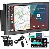 Radio de coche de doble Din, estéreo de medios digitales CarPlay y Android Auto, reproductor multimedia con pantalla táctil de 7 '' con Bluetooth/MirrorLink, FM/Audio/USB, con cámara de visión trasera