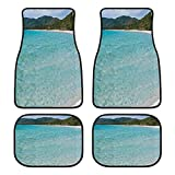 NANITHG Voiture Tapis de Sol Set 4 pièces,Plage Tropicale Eau Plate près de la Plage Mer...