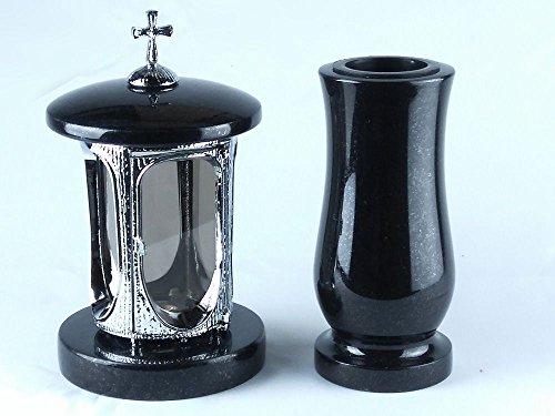 designgrab Grablampe aus verchromtem Aluminium mit Kreuz und Grabvase Taille-medium in Granit Schwedisch Black SS1 schwarz