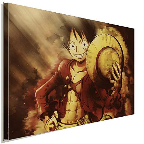 AK ART One Piece Ruffy Luffy Strohhut Leinwandbild Kunstdruck Wandbild Wanddeko (100 x 70 cm)