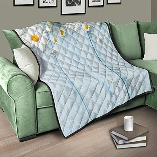 Flowerhome Colcha de madera con diseño de girasol, para sofá o cama, para invierno, para adultos y niños, color blanco, 200 x 230 cm