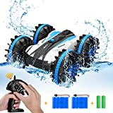 Amphibious Remote Control Car RC Cars RC Boat for Kids 2.4 GHz RC Stunt Car 4WD Off Road Monster Truck Christmas Birthday Gifts Remote Control Boat (Blue)