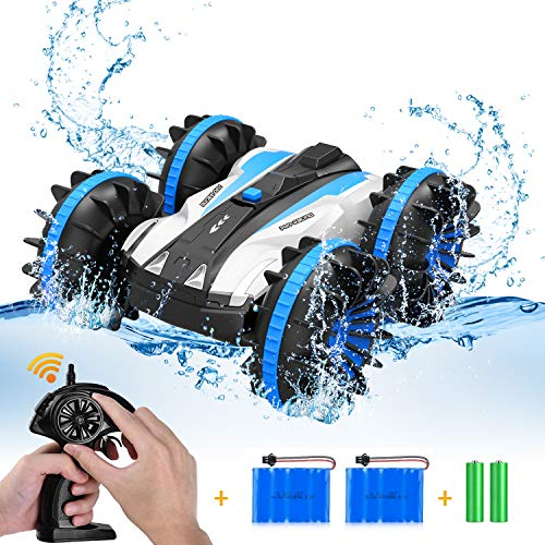 Car Toys for 5-12 Year Old Boys Amphibious Remote Control Car for Kids 2.4 GHz RC Stunt Car for Boys Girls 4WD Off Road Monster Truck Christmas Birthday Gifts Remote Control Boat Beach Toy