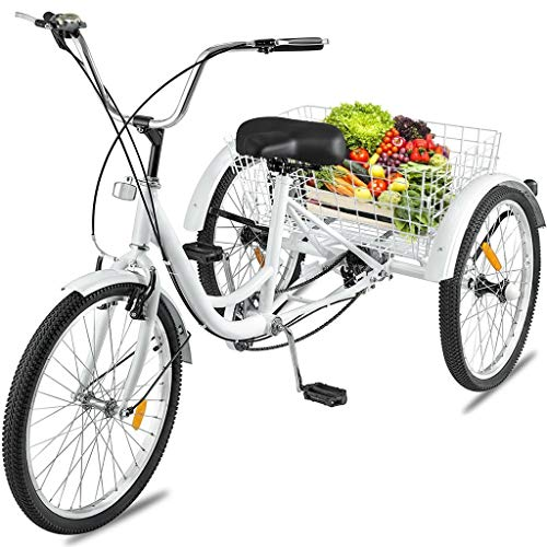 Adult Tricycles 24in 7 Speed Three Wheel Bike,White Cruise Trike with Large Shopping Basket for Women Men Seniors [Ship from US]