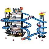 MAJOZ0 Aparcamiento para niños, garaje de ciudad con 6 minicoches y 1 helicóptero, juguete para niños