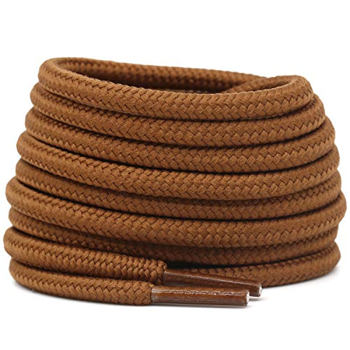 DELELE 2 Pair 27.56'Inch Round Boot Laces 3/16'Thick Shoe Laces Gold Brown Athletic Shoelaces for Shoes Boots