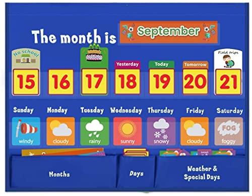Tabla meteorológica NA para preescolar, calendario de aula, calendario para niños con 98 tarjetas, tabla de días de la semana para Kidsr Home & School de 45,7 x 24,9 pulgadas, suministros escolares