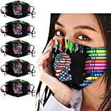 DealinM Adults Fashion Pattern Face 𝑴𝒂𝒔𝒌 Washable and Breathable Face Protection Bandanas Adjustable Cotton Covers