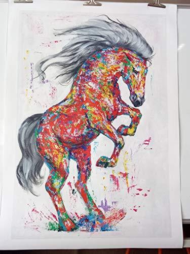 Canvas schilderij decoratie, Wall Art Pictures Canvas HD Prints dierlijke olie schilderij Permanent Horse for Living Room Decor van het Huis No Frame (Size (Inch) : 12X18)
