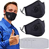2 Pack Mouth Cover Mask with 4 Mask Activated Carbon Filter Anti...