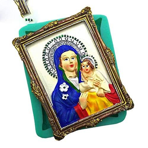 DACCU Christian série Moule en Silicone pour la décoration de gâteau Jésus Bienheureuse Vierge Marie Fondant Moule à Petit gâteau Moule en pâte polymère au Chocolat, F0855XN