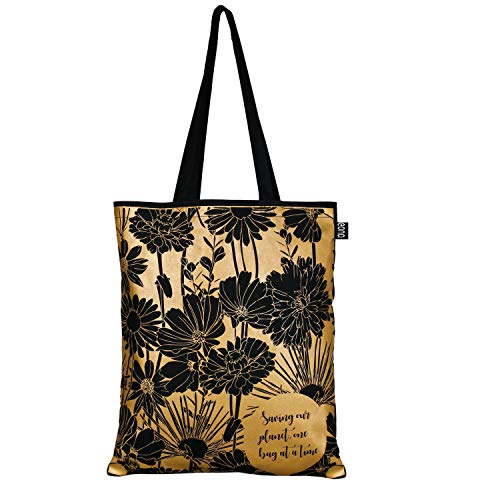 EONO Cotton Canvas Tote Bag Reusable Shopping Bag | Grocery Shoulder Bags | Eco-friendly Gifts for Women, Kids, Girls | Handbags | Printed Flowers - Black | 0102A05