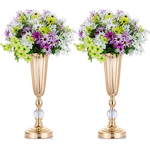 2 Piezas Florero de Trompeta de Flores de Boda de Metal, Centro de Mesa Decorativo, Arreglos de Flores Artificiales de 37.8cm de Altura para Fiesta de Aniversario Cumpleaños Decoración del Hogar