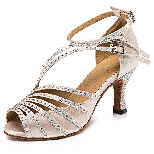 URVIP Nowości damskie buty ze sztucznej skóry poliuretanowej, obcas nowoczesne buty latynoskie z paskiem na kostkę, buty do tańca LD092, biały - biały - 35 EU