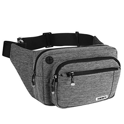 Speedsporting Gürteltasche Bauchtasche Damen Herren Wasserabweisende Hüfttasche mit Reißverschluss Bauchbeutel für Damen und Herren Outdoor Gurttasche Zum Wandern Hip Bag, grau (Model 3)