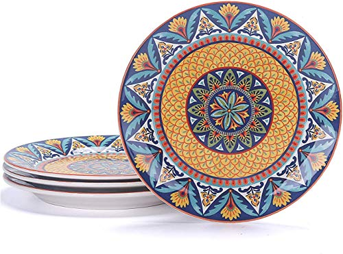 Juego de 4 platos de ensalada de cerámica azul de 22 cm, para ensalada, aperitivo, microondas y lavavajillas, La Habana