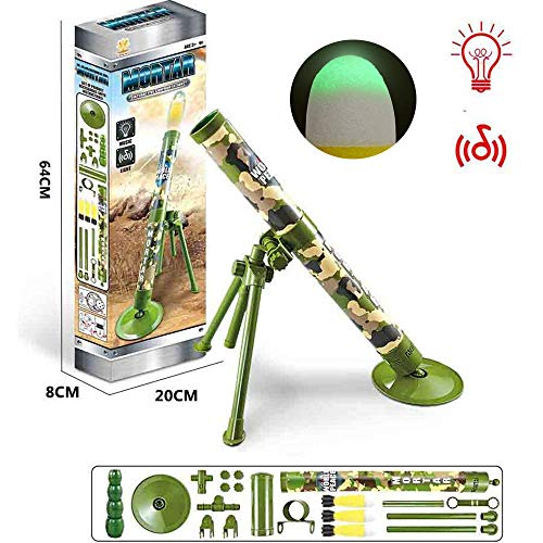 Kids Tactical Toys Bundle, Taktischer Mörser, Rakete Und Sound and Light Toy Missile Militärmodell Modell Elektrischen Rakete Mit Startschwamm-sicherheitsrakete, Interessantes Schießspielzeug-grün