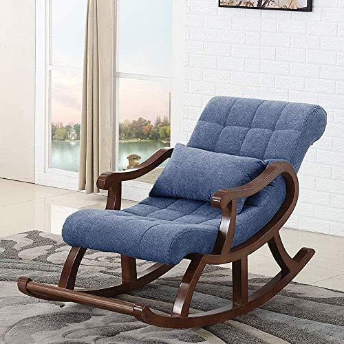 HZYDD Silla Mecedora de Madera nórdica, sillón reclinable en la Silla anciana Sofá for Adultos Balcón de Ocio Fácil Silla, Azul