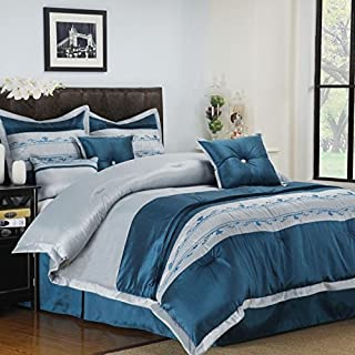 GoLinens 7 Piece Bed in a Bag Set in Carrington Solid Silver and Blue Floral Accent Design, King