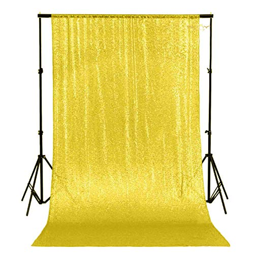 ShinyBeauty 4FTx7FT Sequin backdrops,Yellow Sequin Photo Booth Backdrop, Party backdrops, Wedding backdrops, Sparkling backdrops, Christmas Decoration (Yellow)
