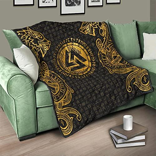 Flowerhome Colcha de runas vikingas con dragón, colcha para cama, sofá, cama o TV, color blanco, 230 x 280 cm