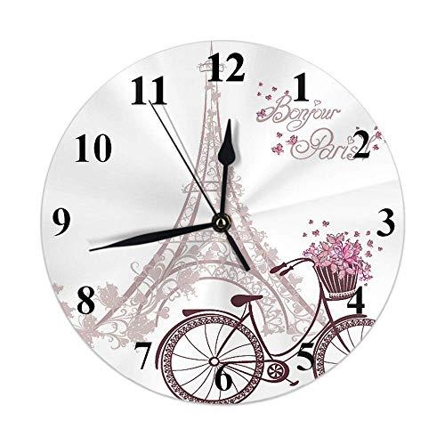 Paris Reloj Vintage Francia Torre Eiffel Bicicleta Flor Mariposa Amor con Cita Bonjour Paris Reloj de Pared Redondo Silencioso Sin tictac Decoración rústica para el hogar 10 Pulgadas para Cocina Bañ