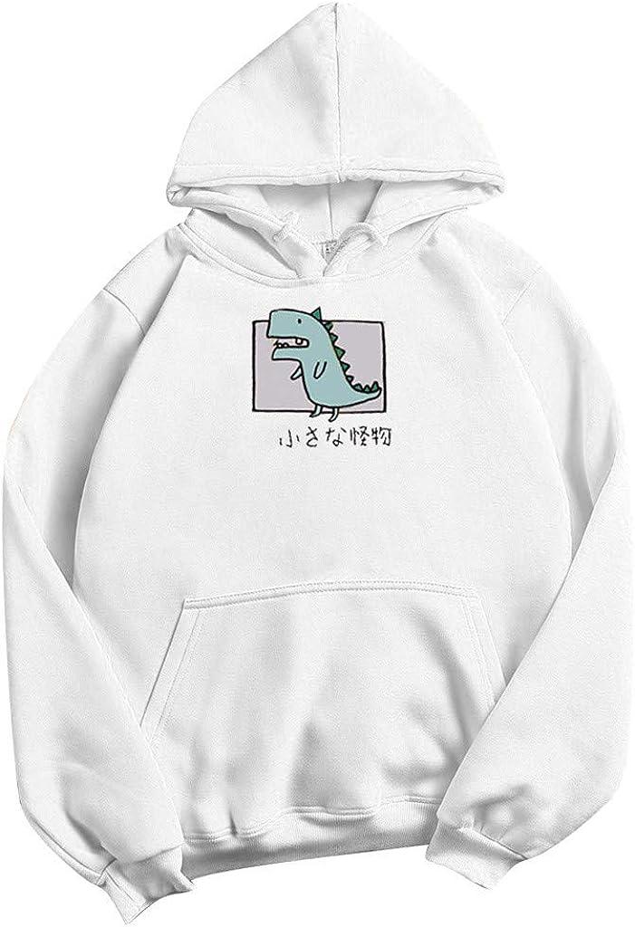 lange /Ärmel Trainingsanzug f/ür Teenager und M/ädchen l/ässiger Hoodie niedlicher Cartoon-Dinosaurier-Druck Damen-Kapuzen-Sweatshirt mit Kordelzug Pullover