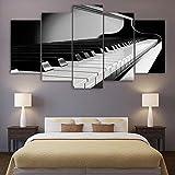 ZDDBD Cuadros artísticos de Pared en Lienzo, Sala de Estar Moderna, 5 Piezas, Teclas de Piano, decoración de Instrumentos Musicales, póster Impreso en HD, Pintura