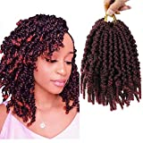 GX Beauty 6Packs Pretwisted Spring Twist Crochet Hair 8 Inch Short Curly Bomb Twist Braids Pre-Twisted Passion Twists Ombre Bomb Twist Braiding Hair Extensions for Women(1B-Bug#)