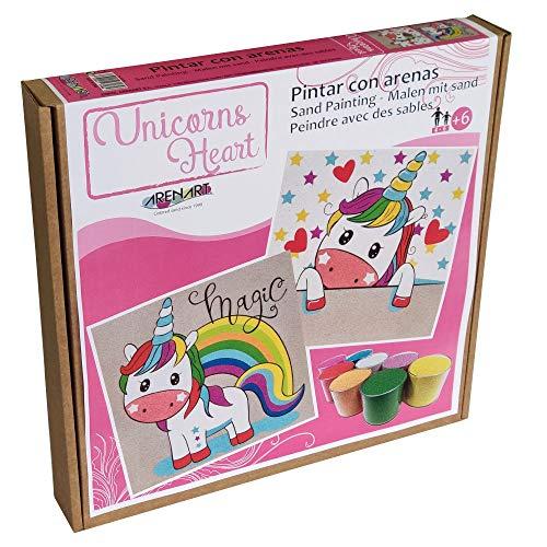 Arenart | Pack 2 Dibujos Unicornio Corazones 30x30cm | para Pintar con Arenas de Colores | Manualidades para Niña | Dibujo Infantil | +6 años