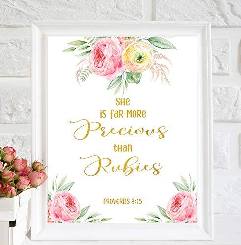 She is more Precious Than Rubies Nursery Prints Décoration murale dorée pour chambre d'enfant Motif baptême