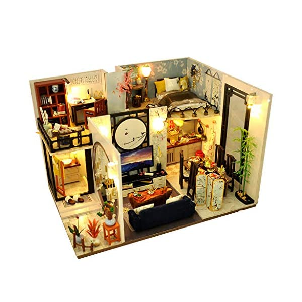 Anyren DIY Miniature Dollhouse Kit Chinese Classical House Model with Furniture Wood...