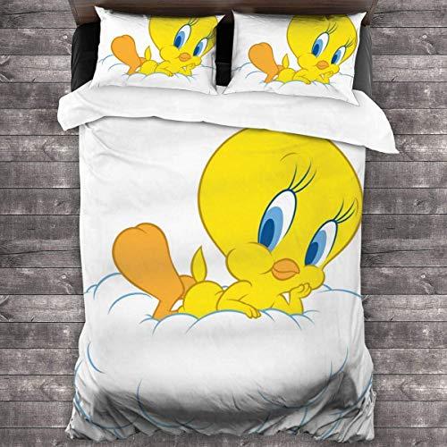 Knncch Tweety Bird Tagesdecke-Bettwäscheset - Dreiteiliger Bettbezug Bedruckte Tagesdecke, Bettbezug mit Steppdecke, Decke für die ganze Saison