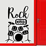 JXMN Drum Silhouette Wall Painting Rock Club Decoración Instrumento Drum Set Kit Wall Sticker Wallpaper 30x42cm