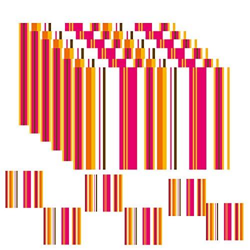 Inxens - Manteles individuales de plastico para mesa de comedor, juego de 6 + 6 unidades, color rojo
