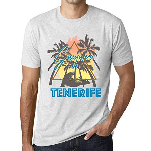 One in the City Hombre Camiseta Vintage T-Shirt Gráfico Summer Triangle Tenerife Blanco Moteado