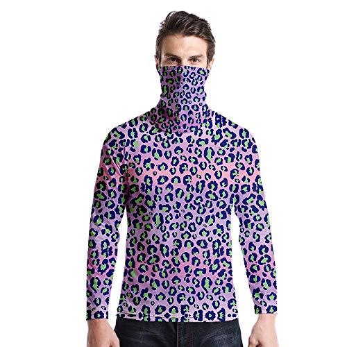 T-Shirt À Manches Longues,Col Rond À Manches Longues Décontracté Imprimé Imprimé Imprimé Léopard Vert Violet Unisex T-Shirt Tops Imprimé Chemisier Body Shirt avec Écharpe Hommes Femmes AUT
