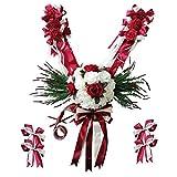 P Prettyia 12 Pièces Kit de Décorations de Voiture de Mariage Arcs Fleur en Soie Nœuds Papillon - Rouge