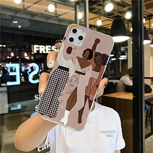 TDG Fundas Caja del Teléfono del Arte Minimalista De La Muchacha De La Vendimia De La Moda Abstracta para iPhone 12 Pro MAX 11 Pro XS MAX 8 7 6 6S Plus X 5S Se 2020 XR Cubierta para Iph