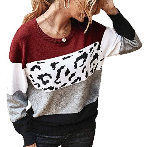 ZFQQ Suéter Multicolor con Cuello Redondo y Bloque de Color para Mujer Otoño e Invierno