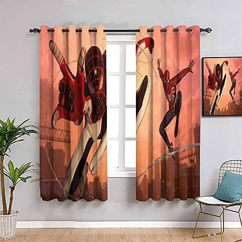 YHML Spid-er - Cortinas opacas para dormitorio, 182,88 cm de largo, diseño de hombre millas morales de Peter Parker, tela impermeable para niños de 72 cm de ancho x 72 pulgadas de largo