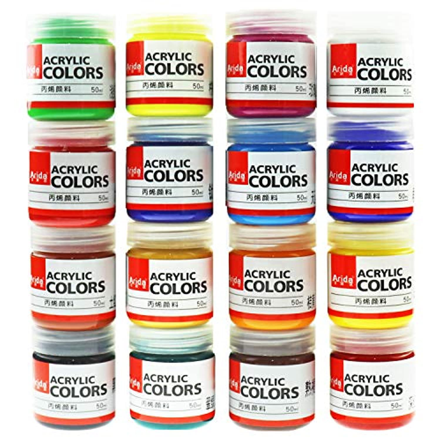 Artist Quality Acrylic Paint Set For Kids Adults Beginners Set Of 16 Colors Non-Toxic Acrylic Paint For Painting Canvas Wood Fabric Ceramic Crafts (50 Milliliter, 1.69 Ounce.)