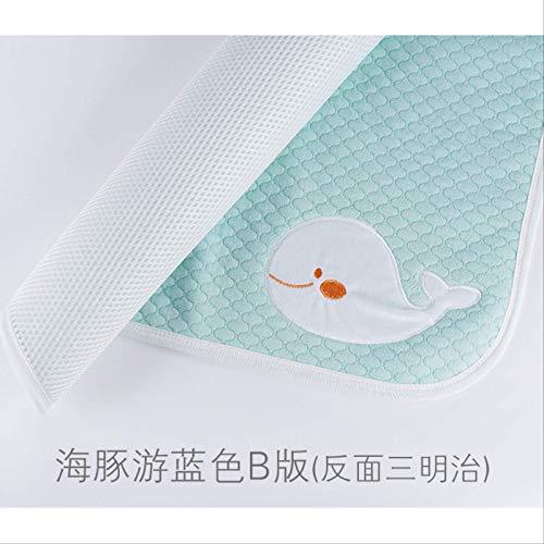 Pannolini Per Bambini Animati Impermeabili Lavabili Neonato Pannolini Di Cotone Pad Baby Pannolini Per Adulti Tappeti Per La Cura. 70 * 140 cm Blu delfino (Sandwich Inverso)