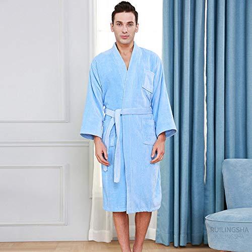 YRTHOR Albornoz de Toalla de Kimono de algodón para Hotel de 5 Estrellas, Bata de baño de Talla Grande para Hombre, Batas de Felpa para el Sudor, Bata Larga para Mujer, Ropa de,Hombres Azul Cielo,L