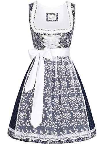 MarJo Trachten Damen Trachten-Mode Midi Dirndl Faralda in Dunkelblau traditionell, Größe:34, Farbe:Dunkelblau