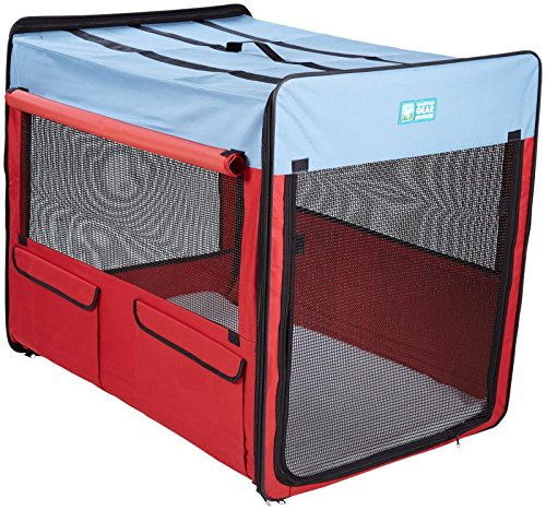 Guardian Gear Collapsible Folding Soft Portable Dog Crate XL for Extra Large Breed Dogs - Red/Blue