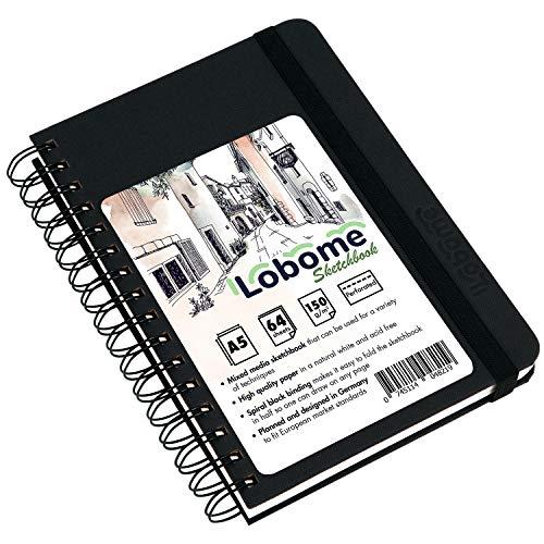Lobome Skizzenblock A5 | 64 Doppelseiten mit 150gsm Weißem Papier und Spiralbindung
