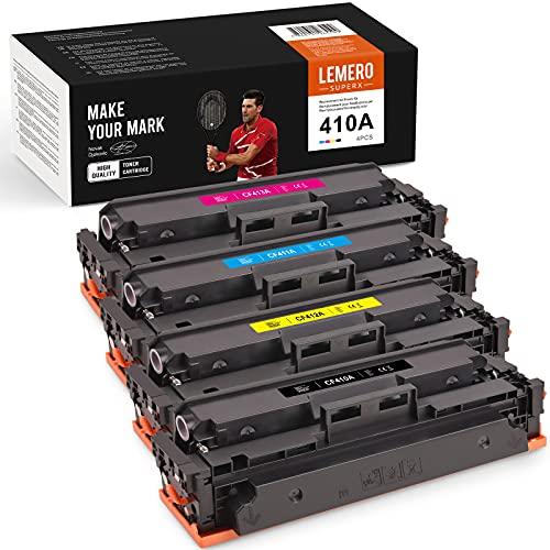4 LEMERO SUPERX Tóner Compatible para HP 410A CF410A 410X CF410X para HP Color Laserjet Pro MFP M477fdw M477fnw M477fdn M452nw M377dw M452dn M452dw M477 M452 M377