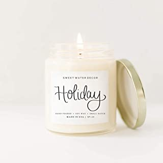 Holiday Natural Soy Wax Candle Glass Jar Scented Citrus Cloves Pine Cones Oakmoss Sandalwood Christmas Winter Made in USA Lead Free Cotton Wick Farmhouse Home Decor Bathroom Accessories Gift For Her